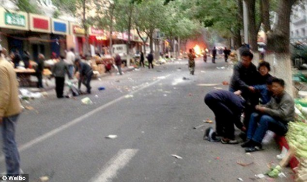 The attack occurred at 7.50am local time in the city of Urumqi, the capital of the volatile Xinjiang region, and has been described as a 'serious violent terrorist incident' by China's Ministry of Public Security