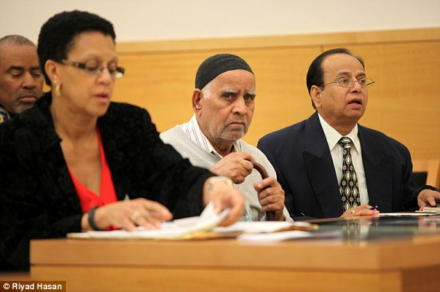 Noor Hussein (center) appears in Brooklyn, New York Supreme Court on the opening day of his murder trial on Wednesday He is accused of beating to death of his wife in their apartment in 2011. Noor is charged with murder in a second degree