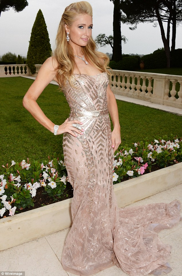Sparkling: Paris Hilton didn't disappoint in her shimmery pastel and silver number