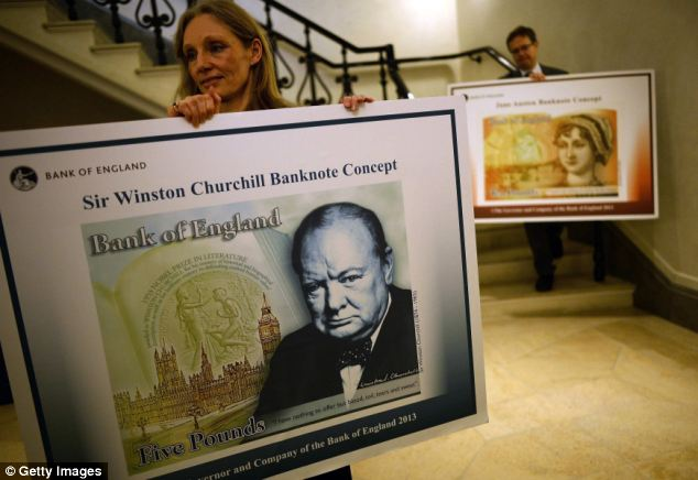 Design: The polymer notes will be introduced in Scotland ahead of England, where the Bank of England plans to issue them for the first time in 2016. Above, posters showing the design of the English polymer banknotes