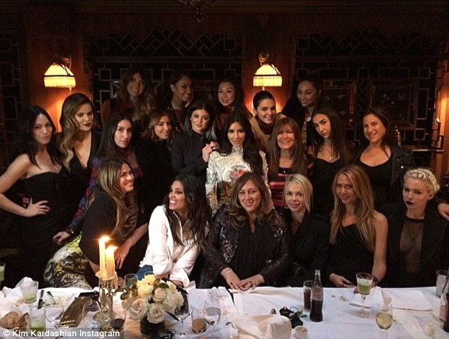 The Last Supper: Kim was joined for dinner by her sisters, celebrity friends like Brittny Gastineau, LaLa Anthony and Rachel Roy and stylists Joyce Bonnelli and Monica Rose among others