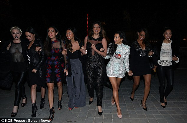 The entourage: Kim and her pals took over the city like it was there backyard
