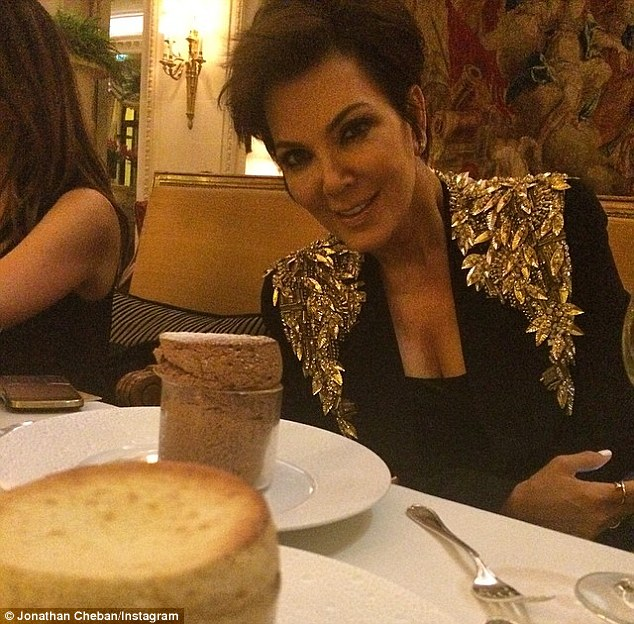 She's got the bling thing: Kris Jenner wore the jacket, seriously encrusted with sequins and crystals over the shoulders, for dinner in Paris this week.