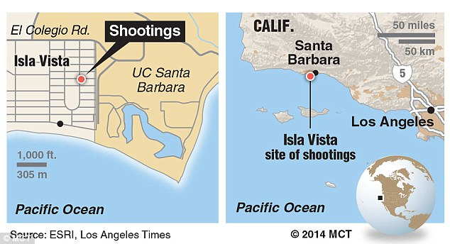 Near campus: The shootings took place close the the UC Santa Barbara campus