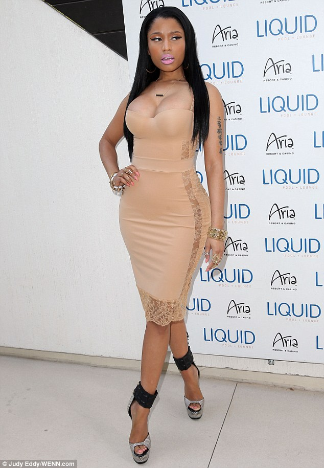 We see you! Nicki Minaj wore a nude stretchy dress that looked like Spanx as she showed up to the LIQUID Memorial Day party in Las Vegas on Saturday