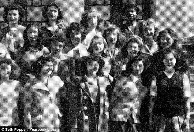 This is the only photo of Only photo of Maya Angelou at school, taken in  1945 at George Washington High School in San Francisco, California. She is pictured back row, right
