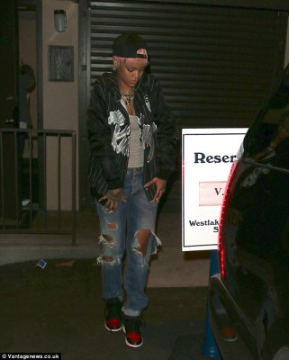 Good Girl Gone Urban: Rihanna keeps her look very street as she exits the recording studio in LA