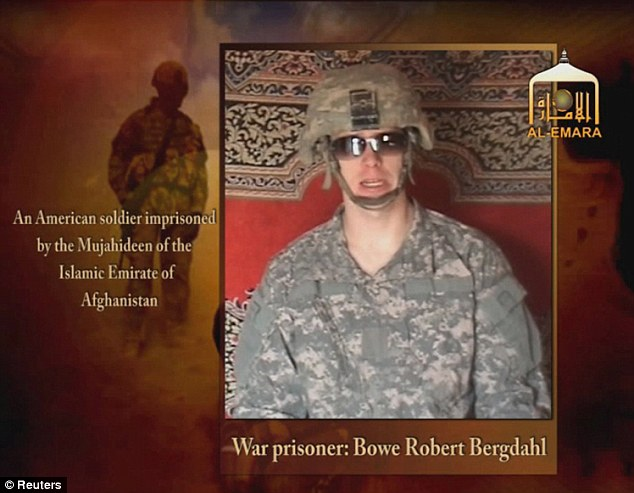 Propaganda: This undated image of video footage taken from a Taliban-affiliated website shows a man claiming to be Bergdahl under captivity