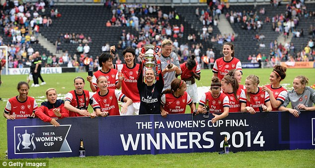 Victory: Arsenal celebrate beating Everton in the Women's FA Cup final on Sunday