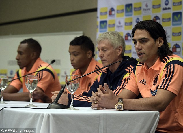 Breaking the news: Falcao with manager Jose Pekerman at a press conference