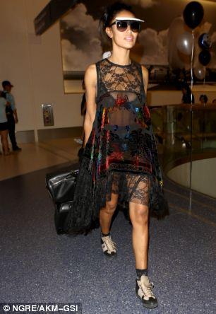 Stiviano (pictured at LAX on Saturday) was in New York to appear on Anderson Cooper's CNN show on Monday night