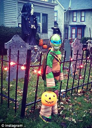 Halloween: Morgan's mom Angie Geyser shared these two photos around Halloween, and the one at the right shows her 'little ninja turtle', her son
