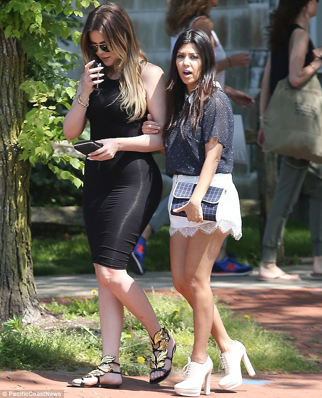 Meanwhile... Across town, Kourtney and Khloe were seen parading their curves in the Hamptons on Tuesday