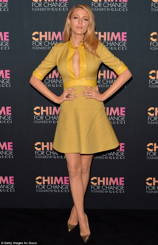 Blonde bombshell: Blake Lively bared her cleavage in a sexy mod dress at the Chime For Change charity event in NYC on Tuesday
