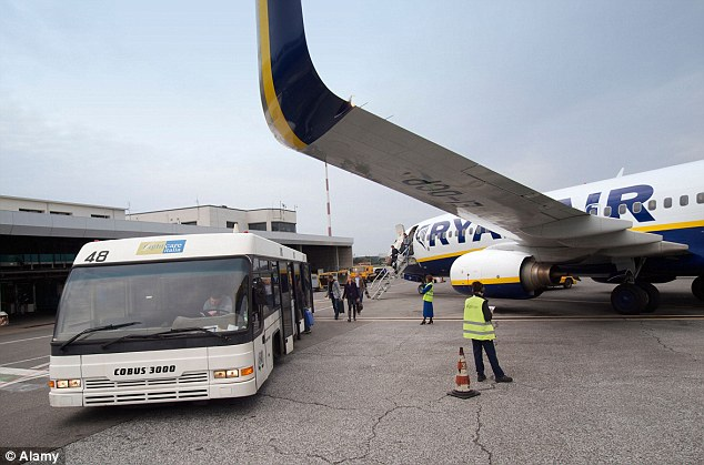 Incident: Tourists leaving a Ryanair plane at Ciampino airport (file image)