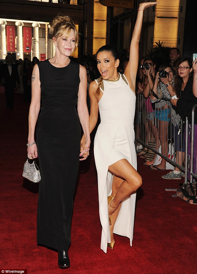 No problems here: The Working Girl actress with Eva Longoria at the AFI Tribute to Jane Fonda in LA on Thursday