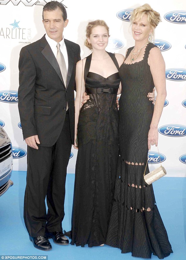 Strong: Banderas and Griffith flanked their daughter Stella at a Marbella charity gala in 2012