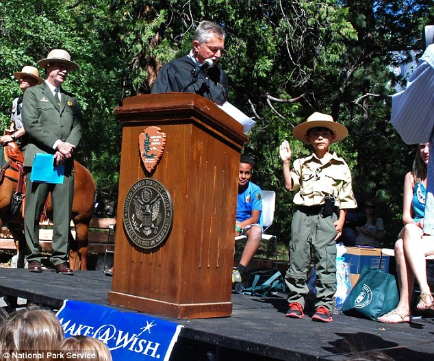 Heartwarming: Gabriel Lavan-Ying, eight, has Ehlers-Danlos syndrome, a debilitating disorder affecting the skin and blood vessels. On Tuesday, he had his wish fulfilled when he was named an honorary Yosemite Park ranger