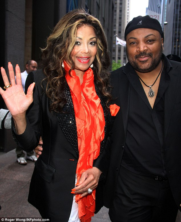 The happy couple: La Toya Jackson and fiancé Jeffre Phillips stepped out in new York on Friday for the first time since their engagement was announced