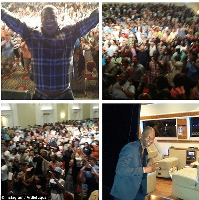 Showtime: Morgan, top left, cheers in front of a packed crowd at the Dover Casino on Friday night, just hours before he and fellow comedian Ardie Fuqua, bottom left, were involved in an accident