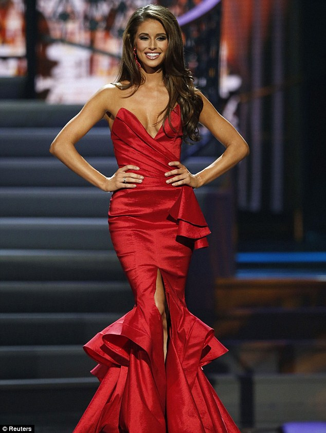 Strutting her stuff: Miss Nevada Nia Sanchez takes the runway during the evening gown portion of the pageant