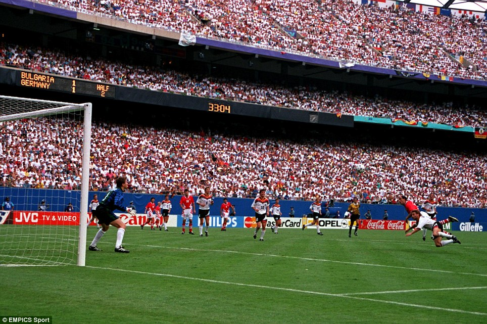 Bulgarias Iordan Letchkov Scores The Winning Goal Against Germany At The  World Cup