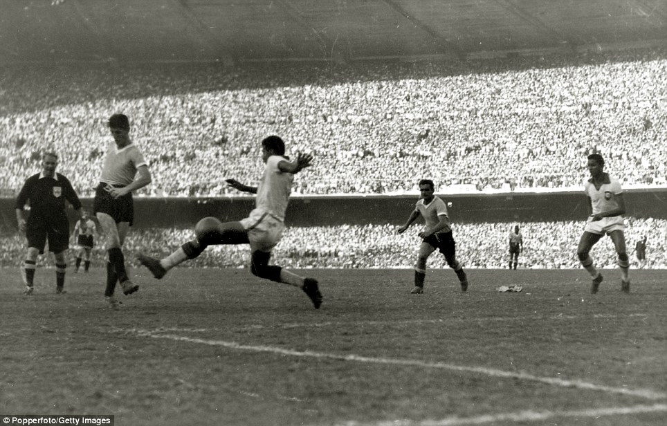 Juan Alberto Schiaffino Scores For Uruguay Against Brazil In The  World Cup Final At The