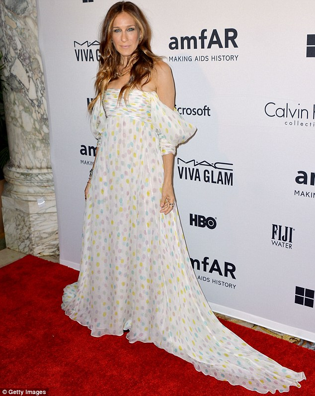Dotty for charity: The actress plumped for a more gypsy inspired ensemble