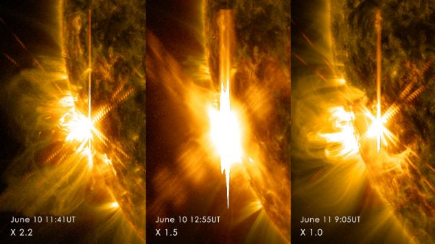 The sun has emitted three intense solar flares in just two days. Two on Tuesday (left and centre) and one on Wednesday (right), disrupting military radio and aircraft communications