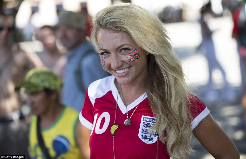 Getting into the spirit: England fan Sarah Jayne Hart was one of thousands who made the trip from Britain to the Amazon rainforest city of Manaus
