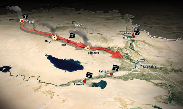 ISIS has so far attacked Mosul, Baiji, Tikrit, Samarra and are now heading to Baghdad