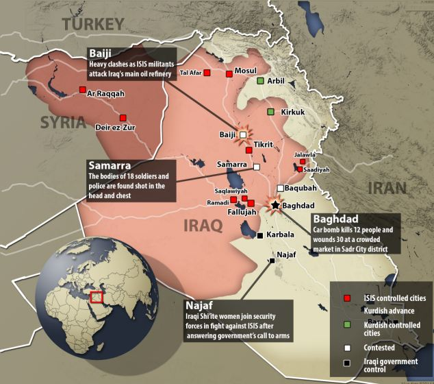 The big picture: ISIS has taken the red-shaded areas in this map and are making progress in their advance toward Baghdad