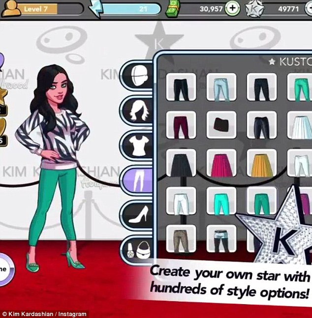 'I love that on you!' Kim's self-titled game app allows players to select clothes, hit the clubs, and 'fall in love' as vapid house music swells in the background