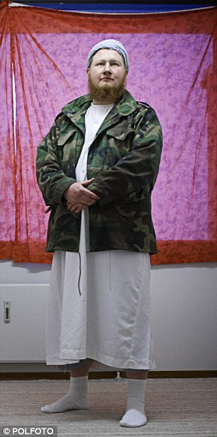 Dressing the part: Morten Storm, who posed as a military jihadist for five years while working undercover, pictured after he converted to Islam