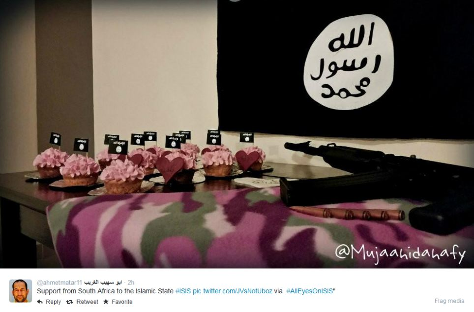 Chilling: Tweets from across the world have sworn allegiance to the group, including this user from South Africa who posted a picture of cupcake with ISIS flags