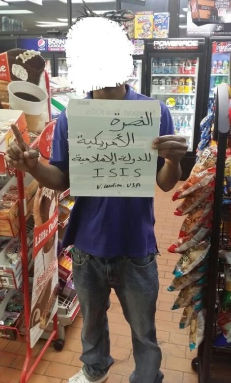 From the supermarket to the seabed: One supporter poses with a message from North Carolina while a group of Palestinians pose with a flag under water