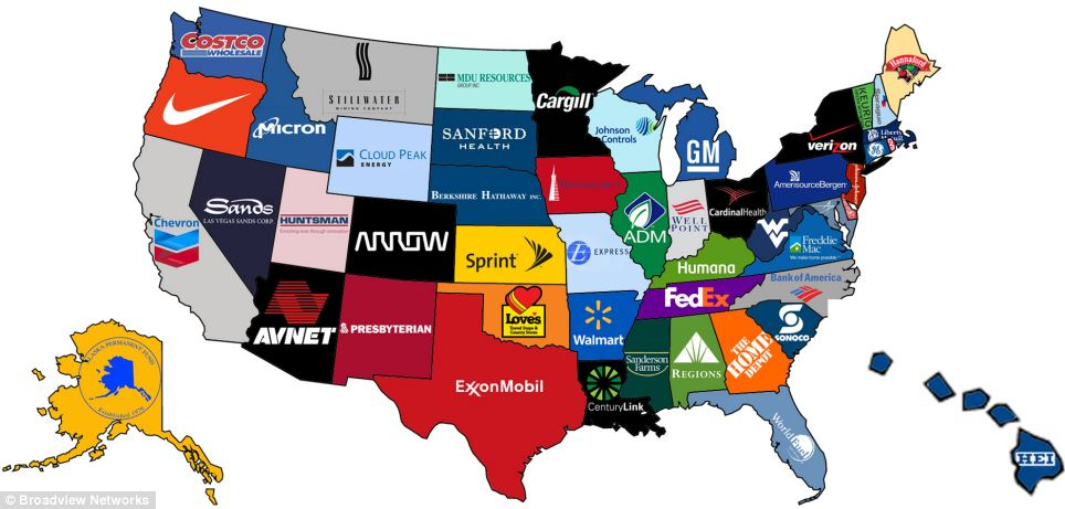 Revealed: This map, designed by telecommunications firm Broadview Networks, reveals the largest companies in each U.S. state based on revenue. The results were taken from every company's corporate headquarters
