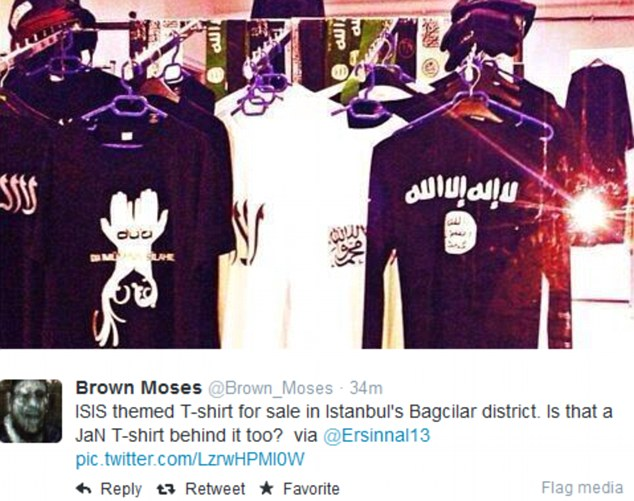 Brazen: Another image shared online shows ISIS promotional clothing sold openly on hangers in a shop. The photograph was apparently taken in the popular Bagcular area of Turkey's capital Istanbul