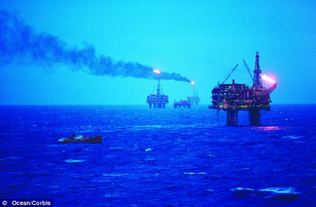 Britain gets 43 per cent of its fossil fuels from abroad as domestic reserves from the North Sea (pictured) are dwindling, the statistics show