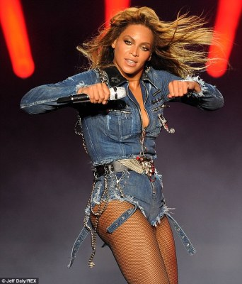 Fist pump: Beyonce was her high-energy self as usual during her solo set