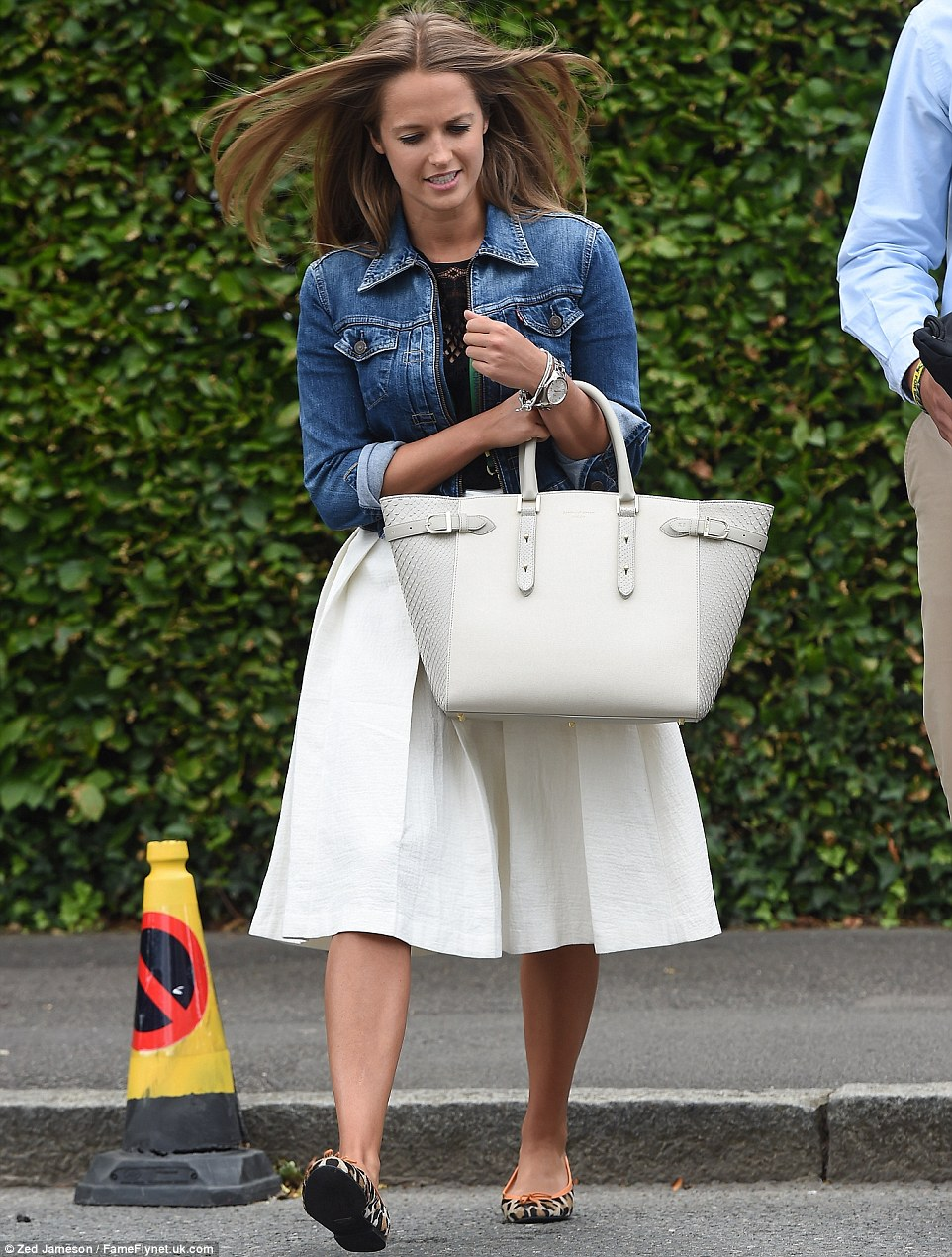 Support: Kim Sears arrives to watch boyfriend Andy Murray play later this evening
