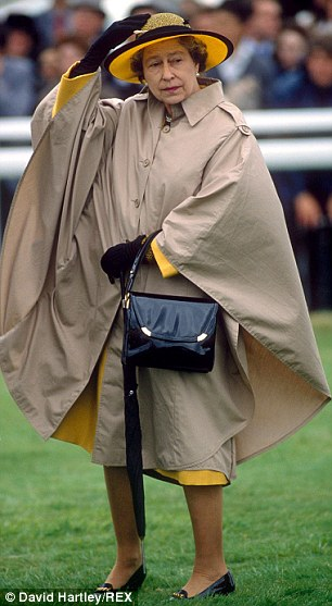 1990: Derby Day and the Queen is being blown about ¿ but the shoes keep her steady