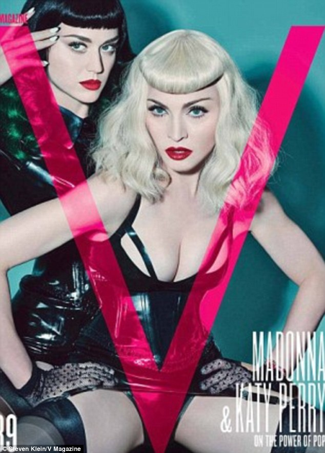 Pop royalty: The princess and queen of pop music - Perry and Madonna, 55, pose for the cover of V magazine