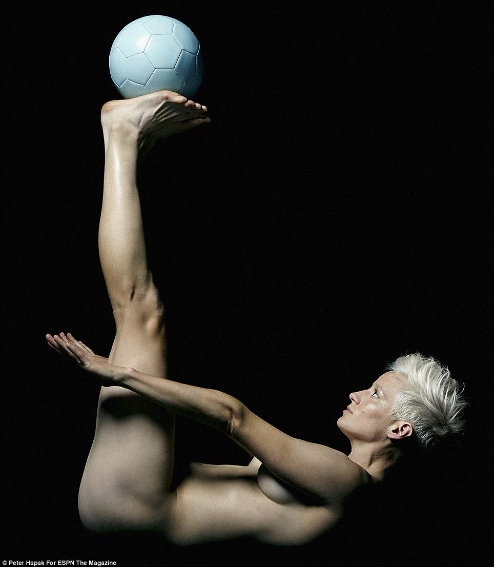 Baller: U.S. Women's Olympic Soccer star Megan Rapinoe (pictured) displays her balance skills