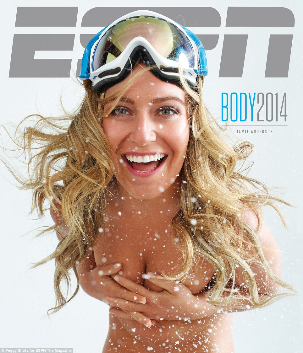 Bracing the cold: Olympic gold-medal-winning snowboarder Jamie Anderson (pictured) may be flaunting her upper body here, but names another part of her slender physique as her 'favorite' asset. 'My freakin' booty!' she says
