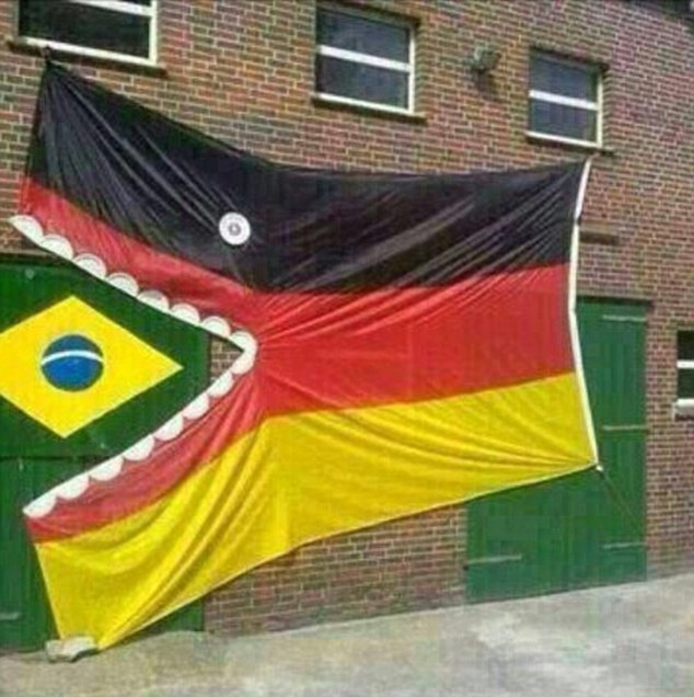 Flag wars: Some supporters took the time out to create a display using the German and Brazilian flags