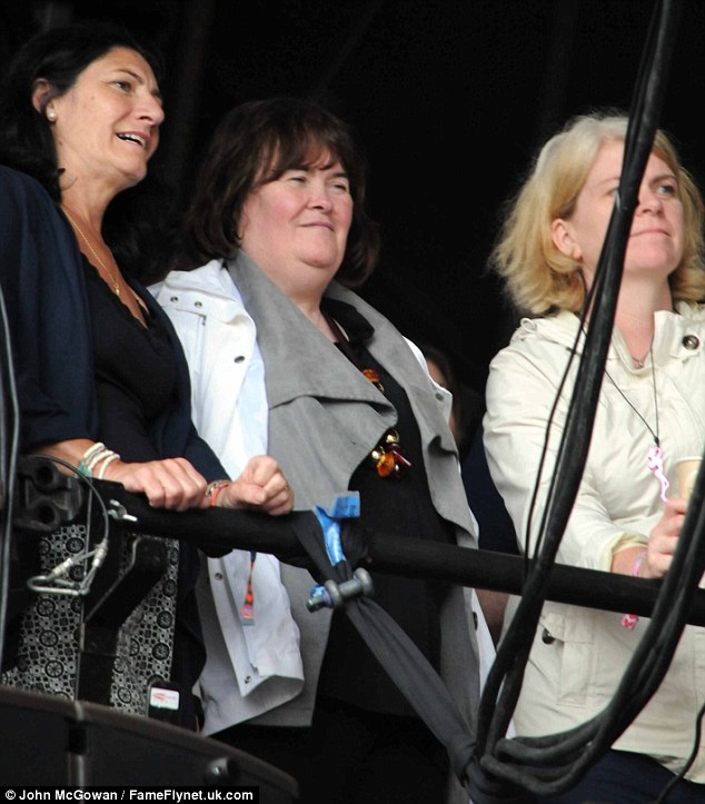 Looking on: Susan Boyle didn't perform on the day but watched as James were performing