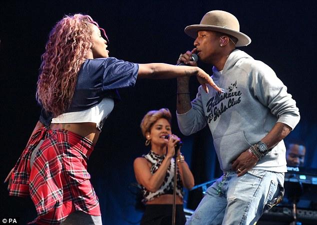 Proving his versatility: Pharrell wore a Billionaire Girls Club hoodie from his range