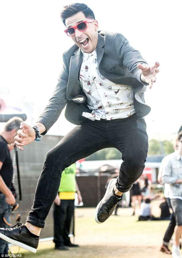 Let's party! Russell Kane was amongst the festival goers in Perthshire on Sunday afternoon