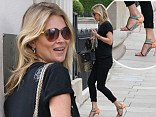 Happy feet! Kate Moss struts her stuff in multicoloured strappy stilettos as she steps out in sunny London
